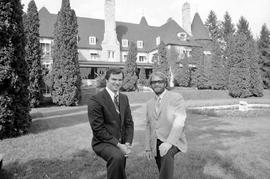 Don MacRae and Carl Hartlieb in Front of Eaton Hall