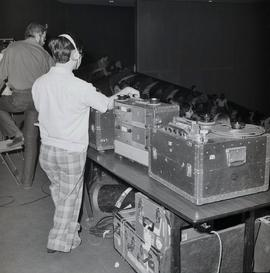 TV and Audio Set Up for Stage Band in the Minkler Auditorium (Global) (CBC)