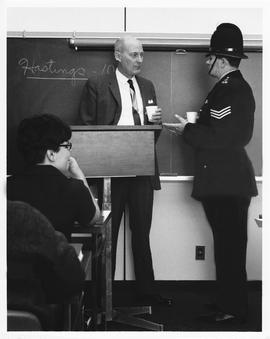 Britsh Bobby Lecturing in a Law Enforcement and Crime Detection Class