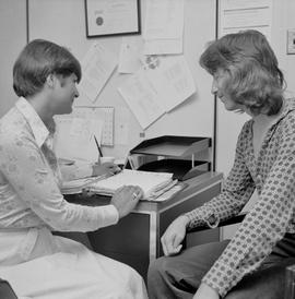 Joan Brown with Students in the Placement Office