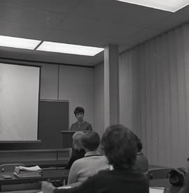 Miss Moyra Haney of the Toronto Public Library Graphic Arts Department Lectures in a Library Tech...